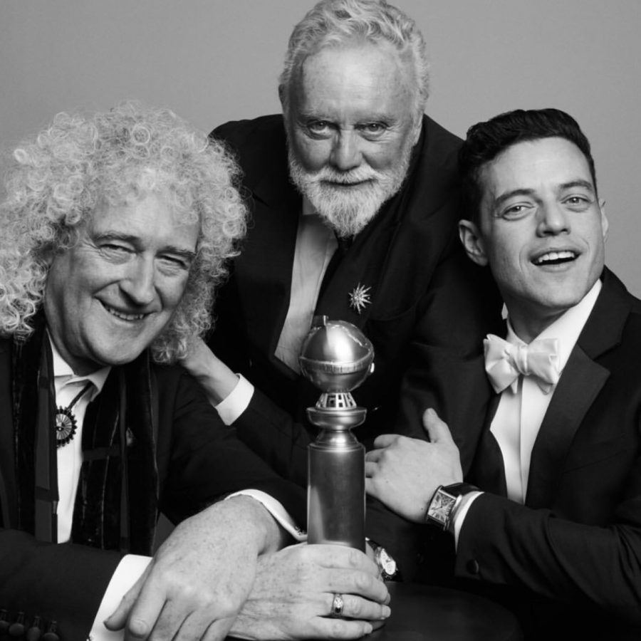 Official+picture+taken+from+the+Golden+Globes+of+Queen+members+Brian+May+%28left%29+and+Roger+Taylor+%28middle%29+with+the+star+of+Bohemian+Rhapsody+Rami+Malek+%28right%29+celebrating+the+film%E2%80%99s+win.+%0AFair+use%3A+Instagram