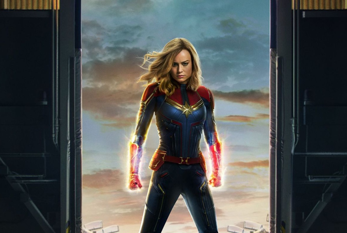 The Captain Marvel poster shows the audience how powerful she truly is and is a perfect representation of how she is portrayed through the film.  Photo used with permission from Vox