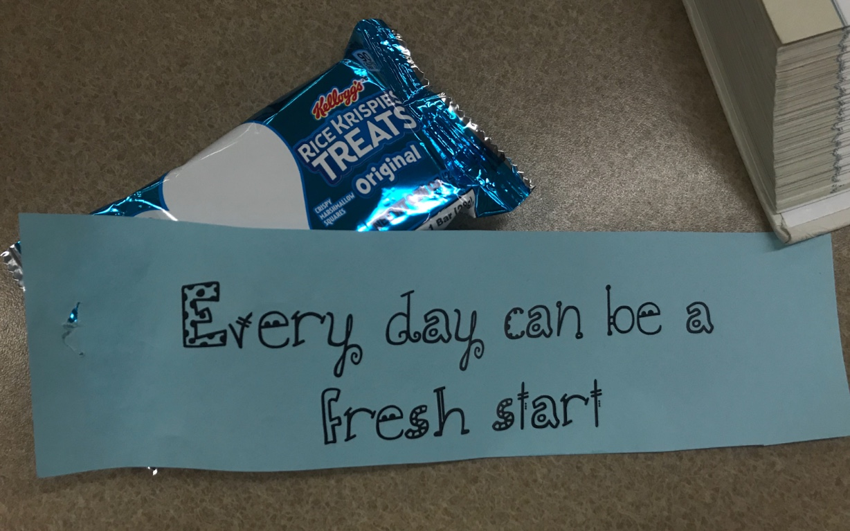 Positive messages fill students with motivation as they start their Mindful Monday with a sweet treat. Photo by Caitlin Flynn