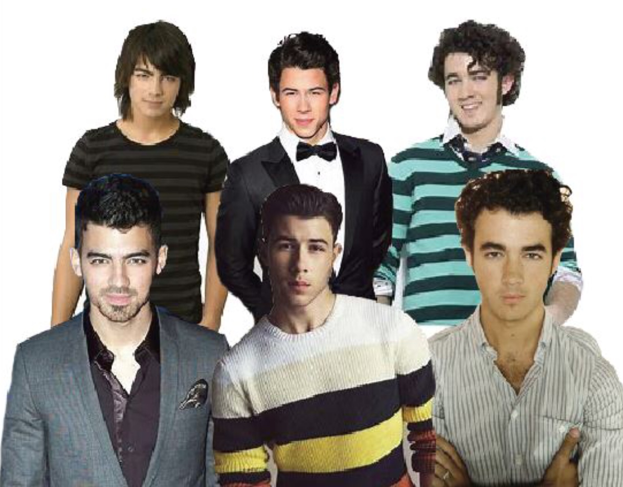 Images of Joe, Nick, and Kevin Jonas from 2019 with their 2013 selves behind them.  Fair use: Creative Commons