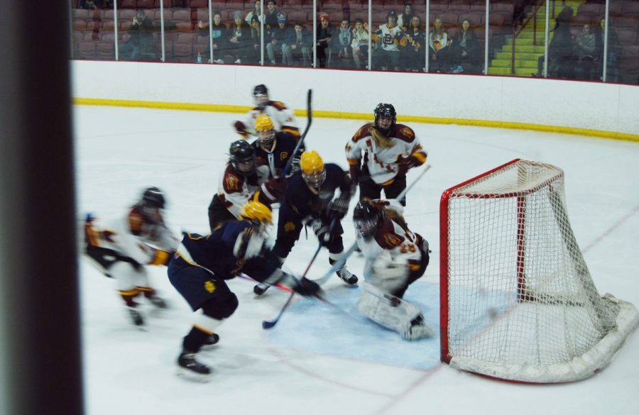Mercy+goalie+freshman+Daria+Rorick+deflects+one+of+many+goal+attempts+by+Grosse+Pointe+South.+%0APhoto+by+Abby+Shaw