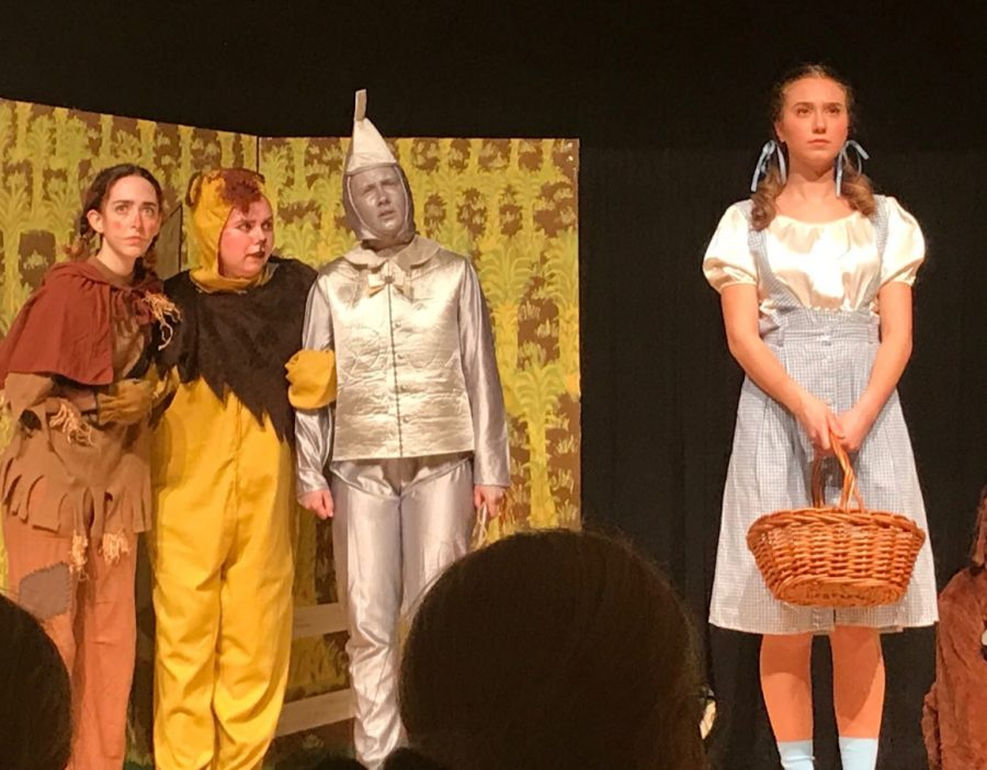 The Actor's Workshop class performs their rendition of The Wizard of Oz at Mercy. Pictured from left to right: senior Avalon Barr, senior Julia Hominga, junior Maeve Lopus, and senior Olivia Fras.  Photo used with permission from Brian Lopus