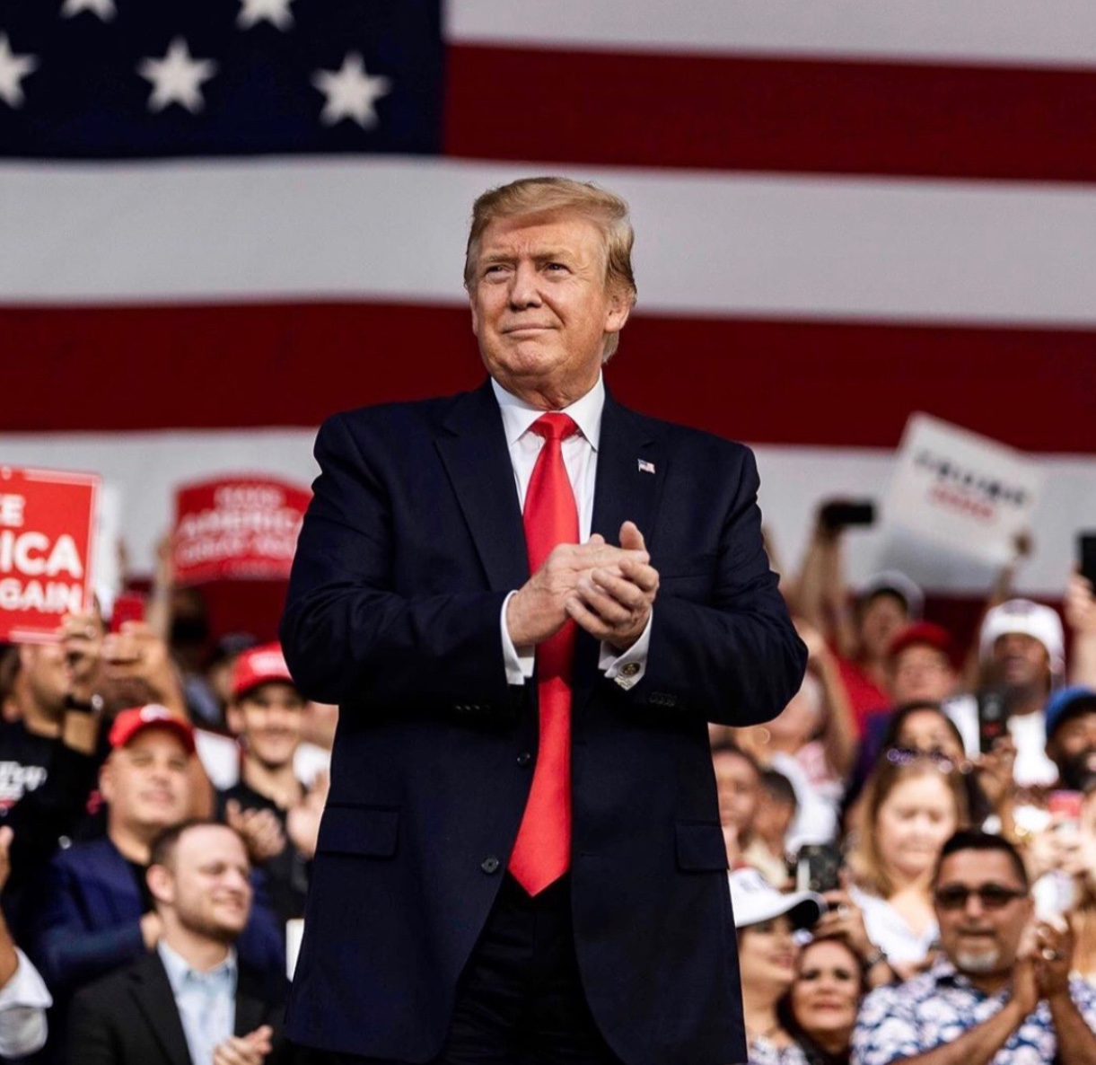 "President Donald Trump is now in his third year in office and looks to the coming 2020 election with a new slogan in mind: ""Keep America Great.""  Fair use: Instagram"