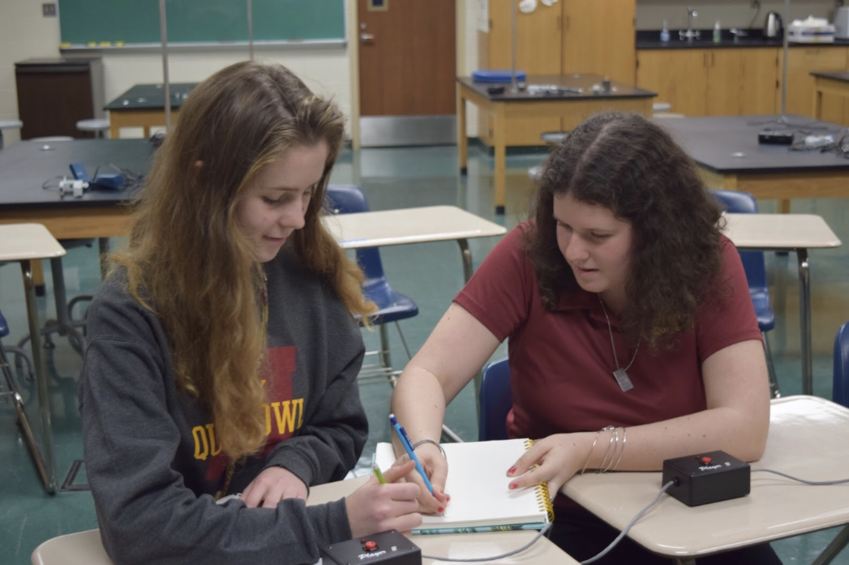 Juniors Laura Boesch (left) and Jill Grubb (right) looking over their notes before their next game against the University of Detroit Jesuit (UoD Brown). Photo by Emily Walugembe