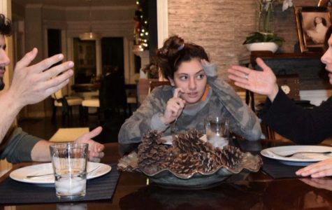 Junior Grace Boji stuck in the middle of a political debate with family members at Thanksgiving dinner. Photo illustration by Rachael Salah