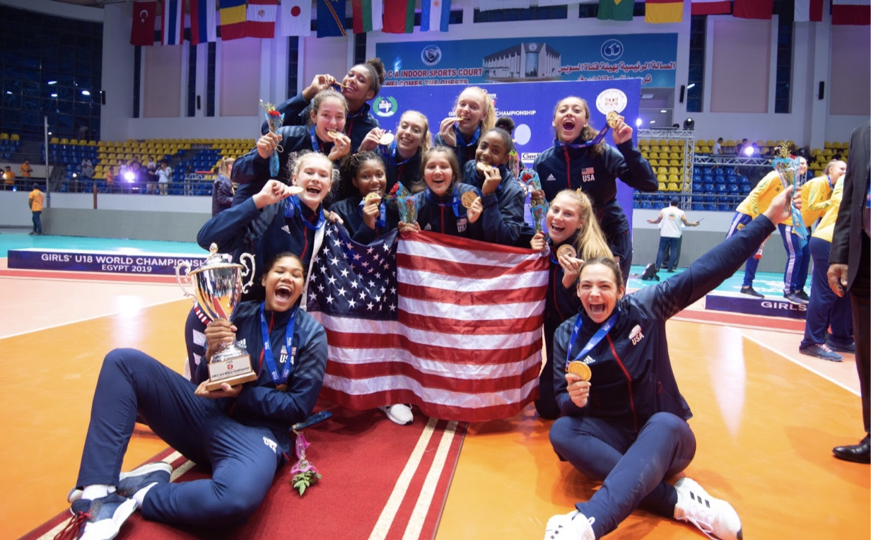 Jess Mruzik and the USA U18 girls volleyball team celebrate their win and new title as world champions in Egypt. Photo used with permission from Jess Mruzik